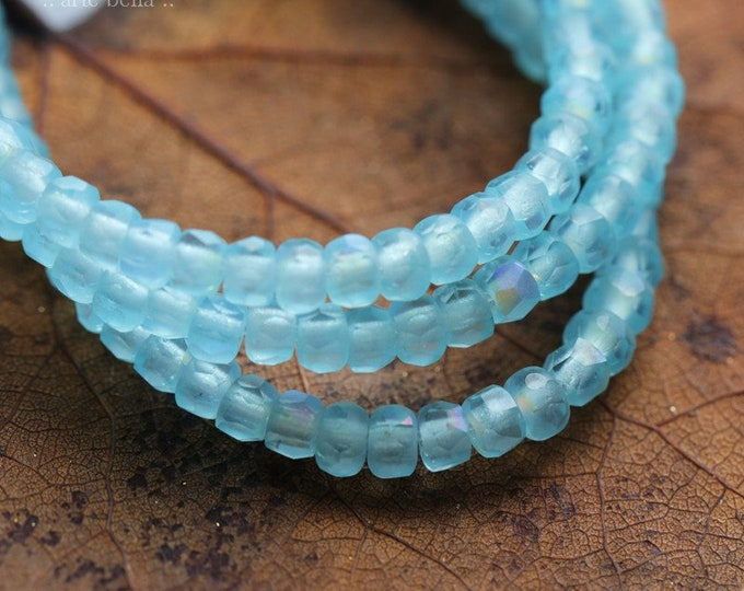 MATTE TRICKLE BITS .. 50 Premium Czech Matte Glass Faceted Rondelle Beads 2x3mm (8272-st)