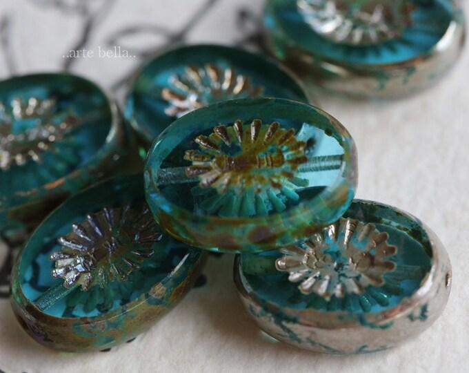 SILVERED BEACH KIWIS .. 6 Premium Picasso Czech Glass Kiwi Oval Beads 14x11mm (7344-6)