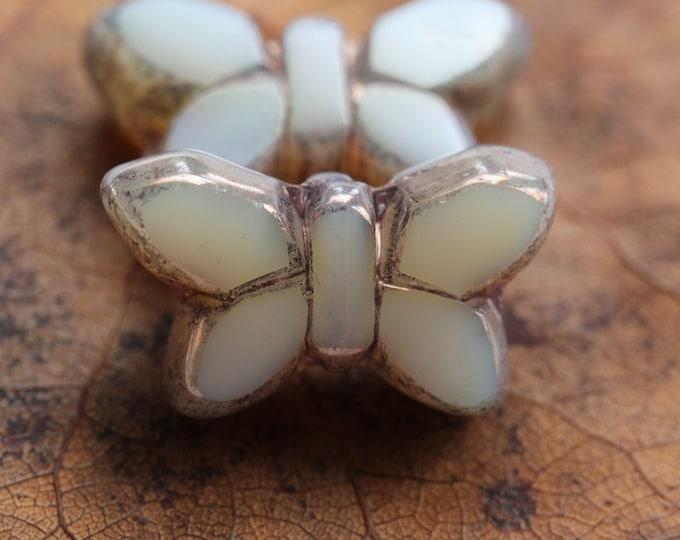 BRONZE MINK FLUTTERS .. 2 Premium Picasso Czech Glass Butterfly Beads 19x11mm (8208-2)