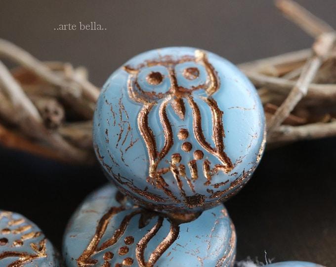 SKY HOO HOO .. 4 Premium Picasso Czech Glass Owl Coin Beads 14mm (6229-4)