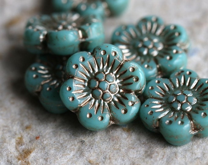 SILVERED TURQUOISE ROSES .. 6 Premium Picasso Czech Glass Wild Rose Beads 14mm (7216-6)
