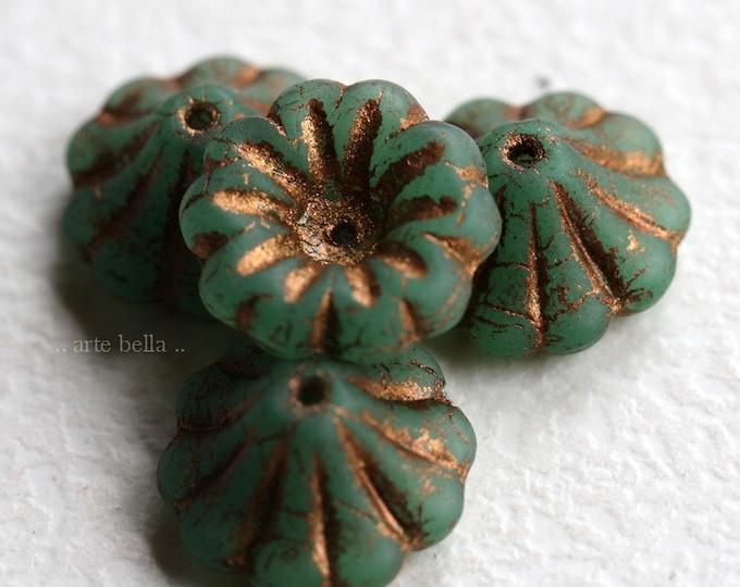 last ones .. BRONZED TEAL LILIES .. 4 Premium Matte Czech Glass Bell Flower Beads 15x8mm (7142-4)