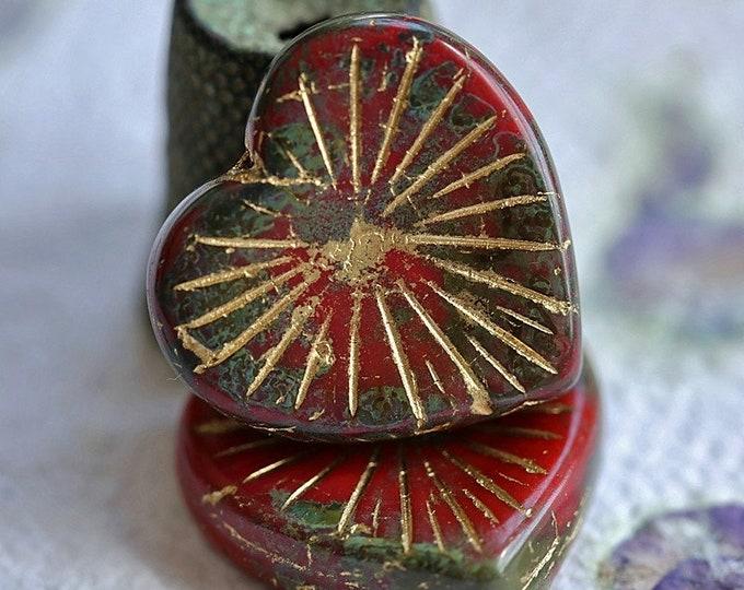 GOLDEN SCARLET HEARTS .. New 2 Premium Picasso Czech Glass Heart Beads 21/22mm (8989-2)