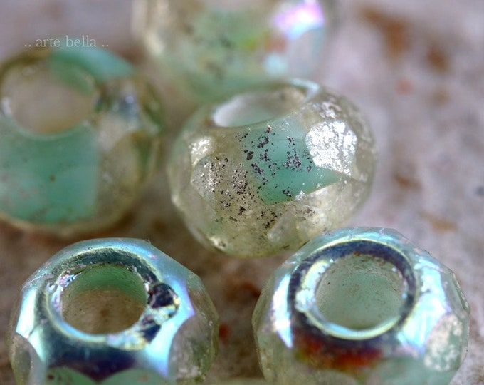 MYSTIC MINT ROLLERS .. New 6 Premium Czech Glass Large Hole Roller Beads 8x12mm (7496-6)
