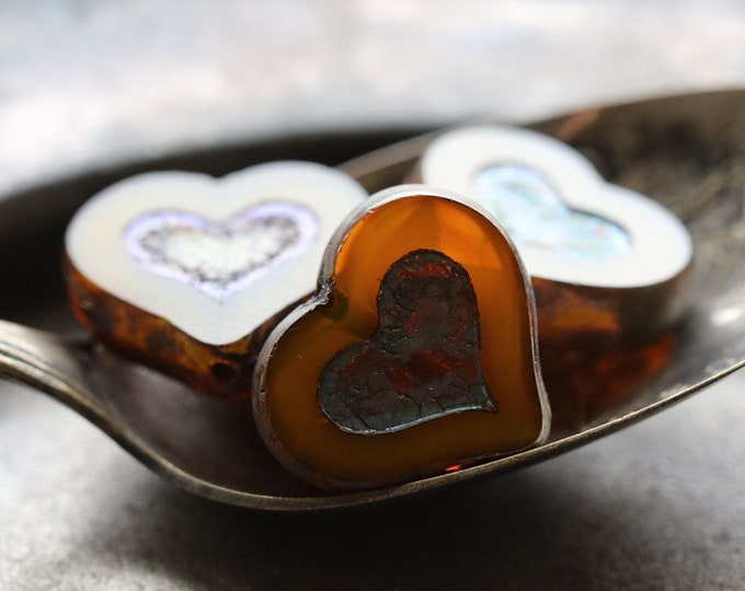 GOLDEN ORANGE THUMPER .. New 4 Premium Picasso Czech Glass Heart Beads 14x12mm (7272-4)