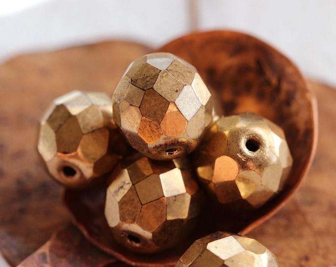 BRONZE PLUMPS .. 6 Premium Czech Glass Faceted Round Beads 12mm (7993-6)