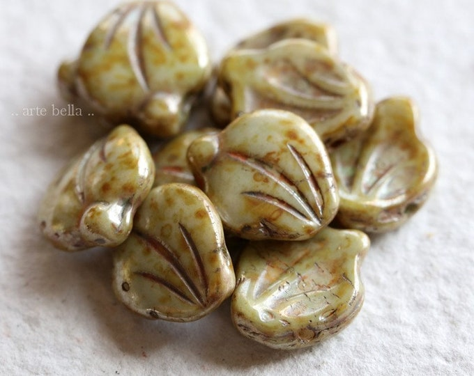 EARTHY SAGE LEAVES .. New 10 Premium Picasso Czech Glass Leaf Beads 15x12mm (8442-10)