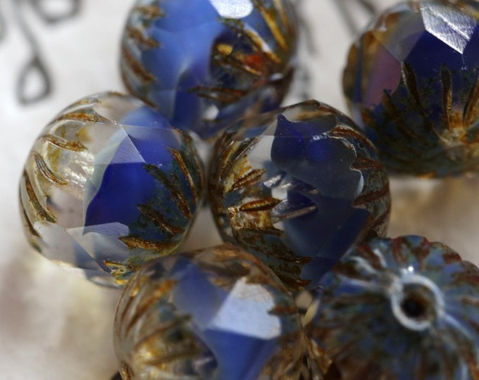 BLUE SILK CHUBS .. 6 Premium Picasso Czech Glass Faceted Beads 11x10mm (7040-6)