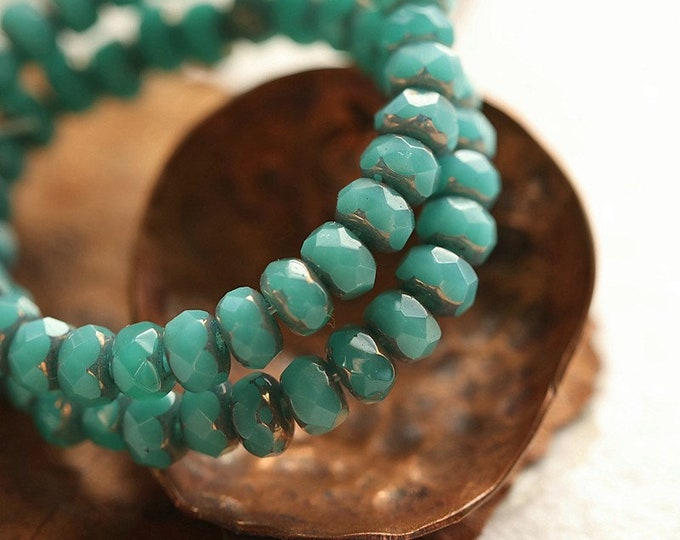 BRONZED TEAL BABIES .. New 30 Premium Czech Glass Faceted Rondelle Beads 3x5mm (8947-st)