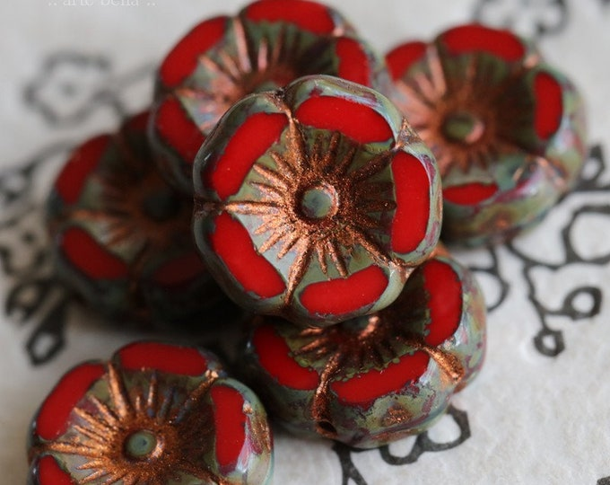 COPPER SCARLET PANSY .. 6 Premium Picasso Czech Glass Flower Beads 12mm (7705-6)