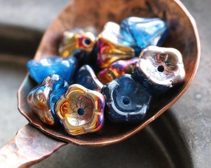 MYSTIC CAPRI BUDS .. 10 Premium Aurora Borealis Czech Glass Flower Beads 8x6mm (8118-10)