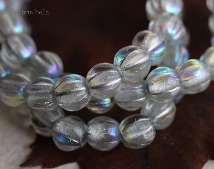 MYSTIC SILVERED MELONS .. 25 Premium Picasso Large Hole Czech Glass Melon Beads 6mm (7701-st)