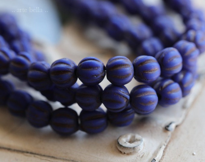MATTE INDIGO MELONS 4mm .. 50 Premium Matte Czech Glass Melon Beads (7170-st)