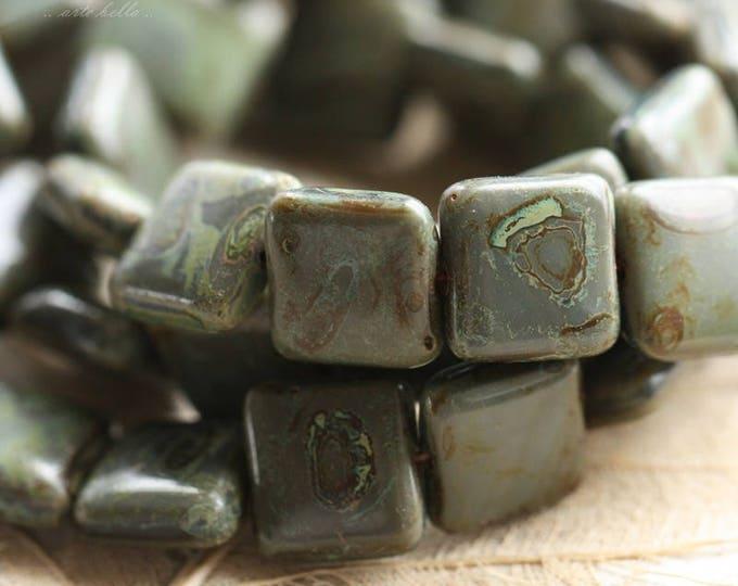 last ones .. SLATE .. 15 Premium Picasso Czech Glass Square Beads 10mm (B1010-15)