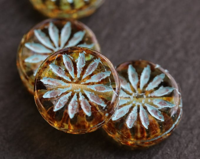 BLUE AMBER ASTER .. New 4 Premium Picasso Czech Glass Flower Coin Beads 12mm (7435-4)