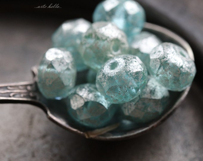 SILVERED AQUA .. 10 Picasso Czech Rondelle Glass Beads 6x8mm (5618-10)