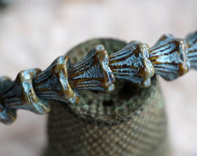 BLUE HONEY BABY Bells .. New 30 Premium Picasso Czech Glass Bell Flower Bead 5x6mm (7251-st)
