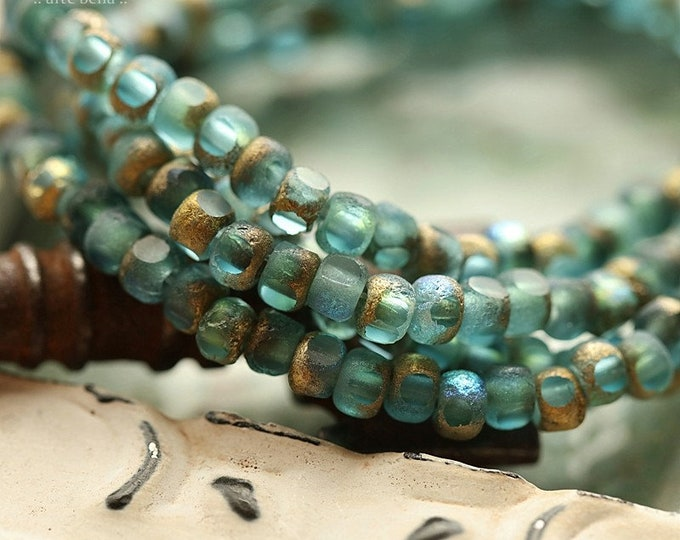GOLDEN AQUA SKY Seeds .. New 50 Premium Etched Czech Glass Trica Seed Bead 4x3mm (8925-st)