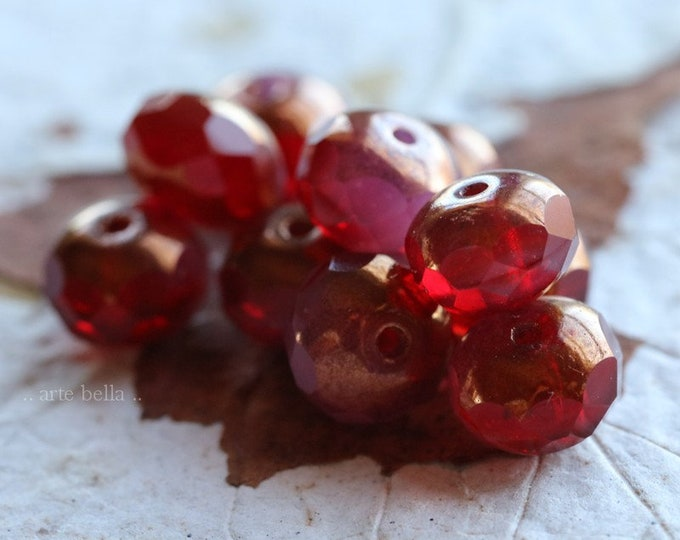 COPPER STRAWBERRY PINKS No. 2 .. 10 Premium Czech Glass Rondelle Beads 6x8mm (7665-10)