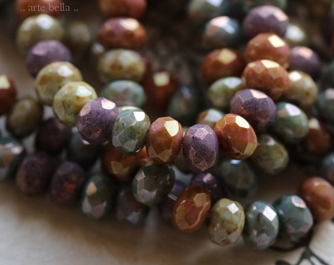 MEDLEY No. 6987 .. 30 Premium Picasso Czech Glass Rondelle Mix Beads 3x5mm (6987-st)