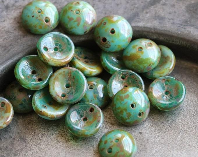 SEA BREEZE PIGGY .. 20 Czech Picasso Glass Piggy Beads 8x4mm (4786-20)