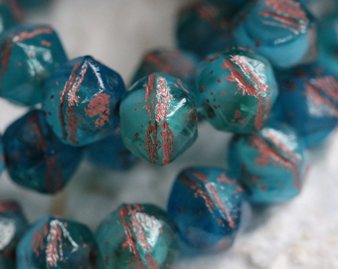 AQUA TEAL NUGGETS .. 20 Premium Picasso Czech Glass English Cut Beads 8mm (5436-st)