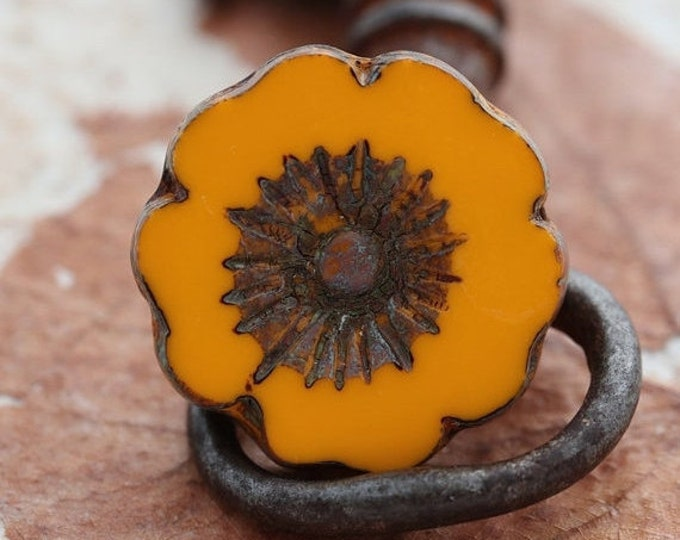 sale .. COREOPSIS No. 4 .. 1 Picasso Czech Glass Flower Beads 22mm (5240-1)