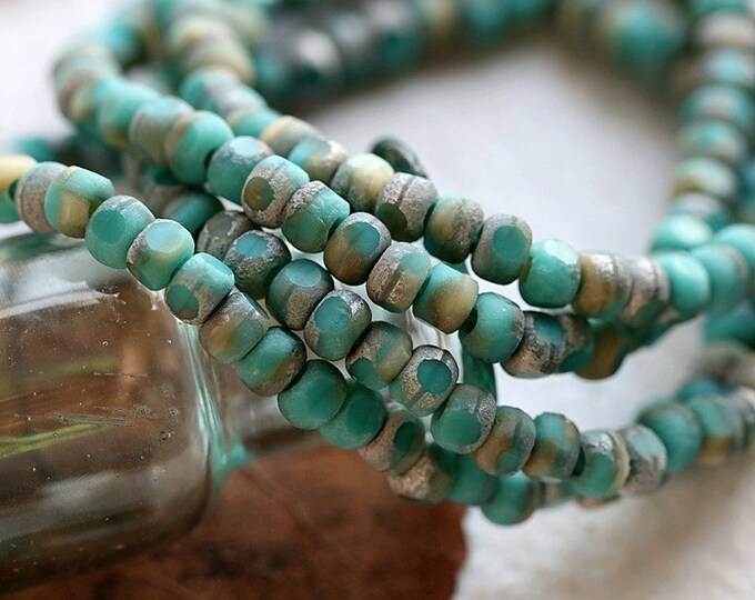 TURQUOISE SAND SEEDS .. New 50 Premium Etched Czech Glass Tri-Cut Seed Bead Size 6/0 (8565-st)
