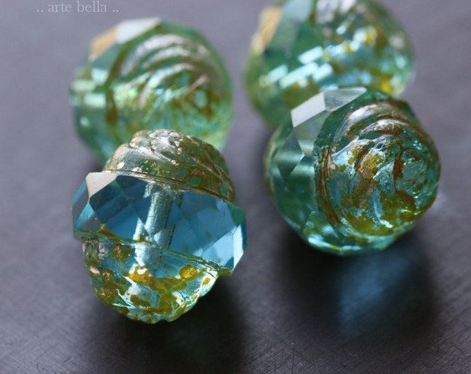 BEACHY PLUMPS No. 2 .. 4 Premium Picasso Czech Glass Turbine Beads 13x15mm (6764-4)
