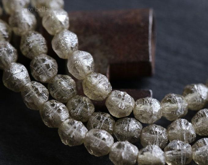 SILVERED SMOKE 4mm .. 50 Premium Picasso Czech Glass English Cut Beads (6548-st)