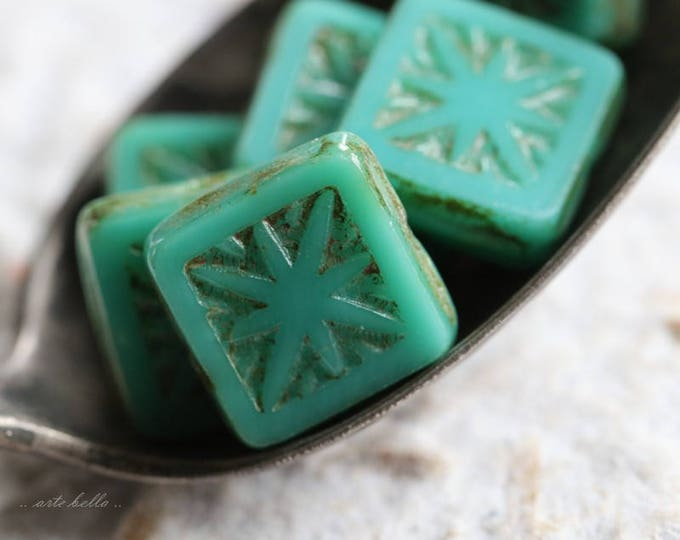sale .. TURQUOISE SQUARES No. 2 .. 6 Premium Picasso Czech Star Square Glass Beads 10mm (5788-6)