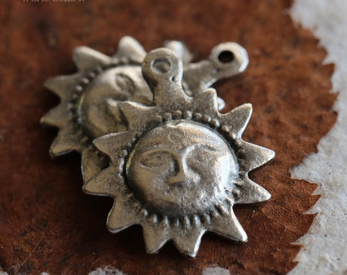 SUNNY .. 2 Mykonos Greek Antique Silver Sun Charms 16x20mm (M181-2)