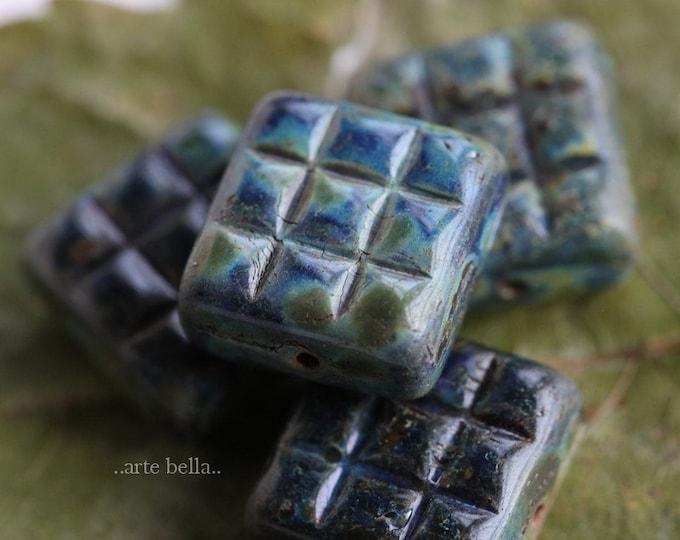 BLUE MOSS TWILIGHT Squares .. 4 Premium Picasso Czech Glass Square Beads 13mm (7605-4)