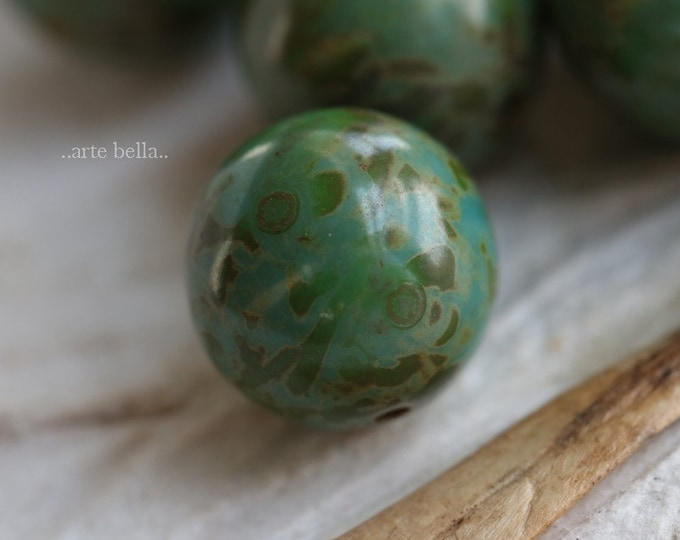 MOSSY TURQUOISE MARBLES 10mm .. 10 Premium Picasso Czech Glass Druk Beads (6528-10)
