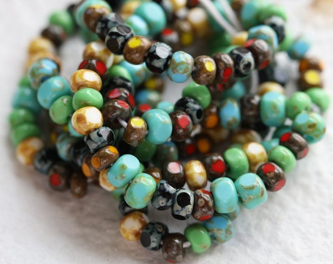 """CARNIVAL SEEDS No. 4129 .. 20"""" Strand Premium Picasso Czech Glass Tri Cut Seed Bead Mix Size 6/0 (4129-st)"""