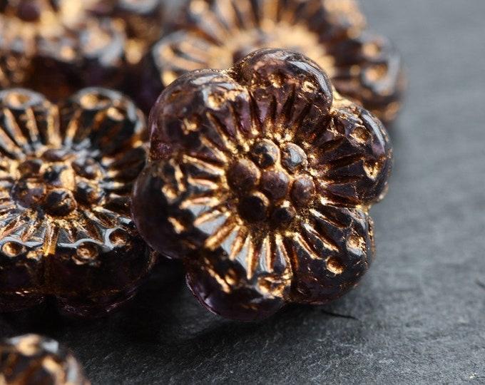 BRONZED PURPLE ROSES .. 6 Premium Picasso Czech Glass Wild Rose Beads 14mm (7219-6)
