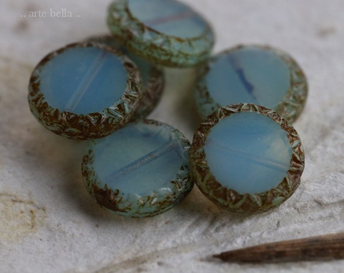 LAGOON SUNS No. 2 .. 6 Premium Picasso Czech Glass Coin Beads 12mm (6246-6)