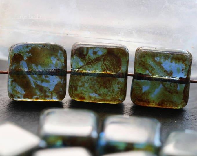 POND SQUARES .. 10 Premium Picasso Czech Glass Square Beads 10mm (6119-10)