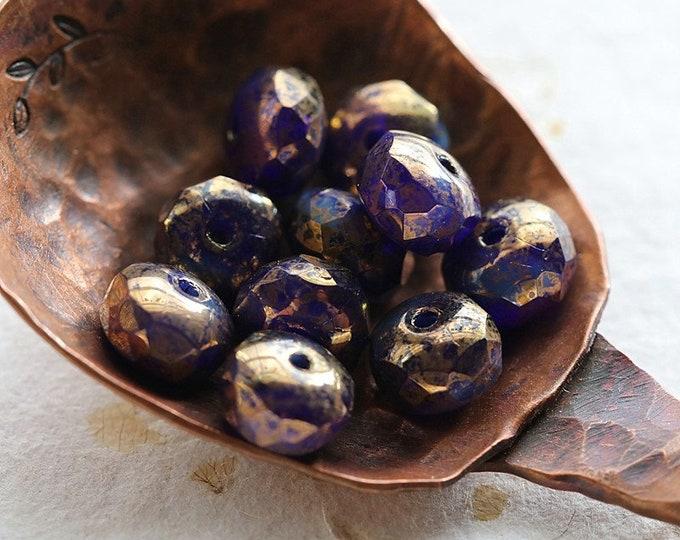 GOLDEN COBALT PEBBLES .. New 10 Premium Czech Glass Faceted Rondelle Beads 5x7mm (8655-10)