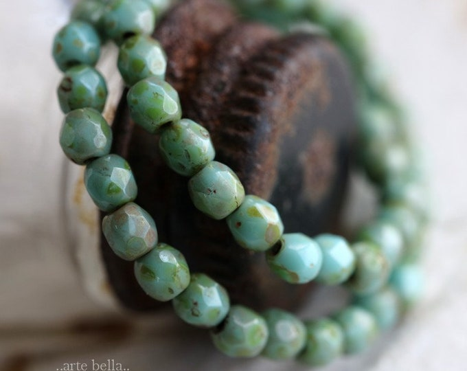 sale .. TURQUOISE PICASSO BABIES .. 50 Premium Picasso Czech Glass Beads 3mm (4309-st)