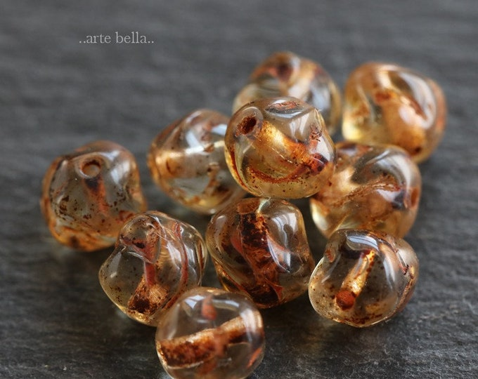 sale .. GROOVY ROUNDS .. 10 Premium Picasso Czech Glass Beads 6mm (6530-10)