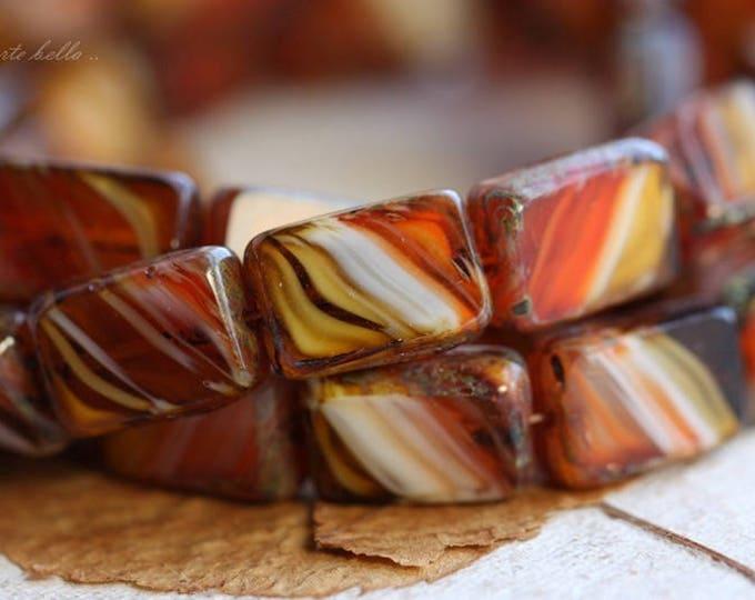 THAI TEA .. 10 Picasso Czech Glass Rectangle Beads 12x8.5mm (B1037-10)