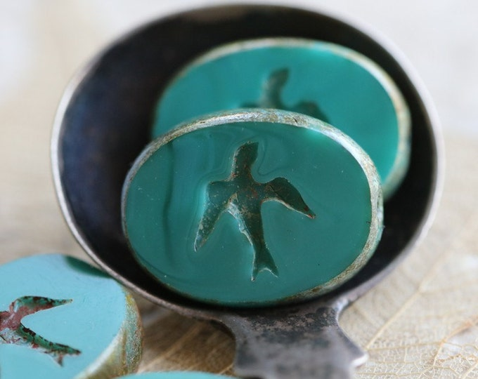 TEAL SWALLOW .. 4 Premium Czech Picasso Glass Swallow Beads 16x12mm (4670-4)