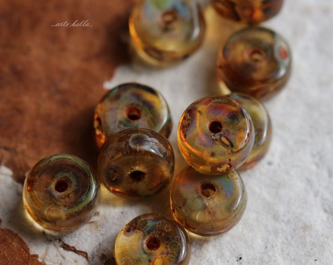 STONE WHEELS .. 20 Premium Picasso Czech Amber Glass Beads 3x6mm (5402-20)