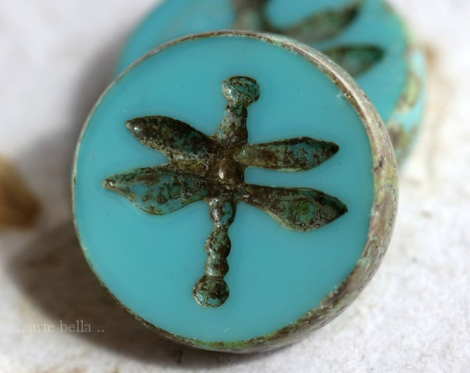 TURQUOISE DRAGONFLY COIN .. 2 Premium Picasso Czech Glass Dragonfly Beads 18mm (7442-2)