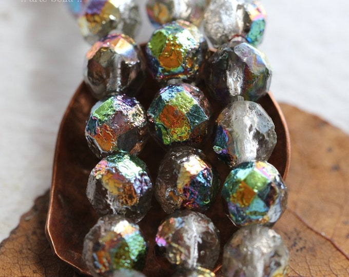 RUSTIC RAINBOW ROUNDS .. 25 Premium Etched Czech Glass Faceted Round beads 8mm (8103-st)