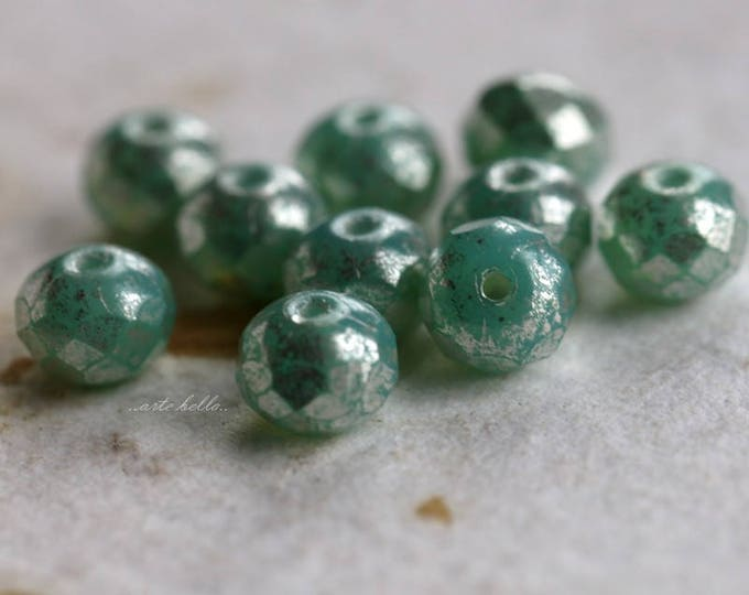 SILVERED SEAFOAM No. 2 .. 10 Picasso Czech Rondelle Glass Beads 5x7mm (5743-10)