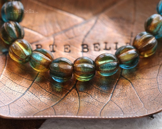 COPPER CABO MELONS 6mm .. New 25 Premium Large Hole Czech Glass Melon Beads (8082-st)
