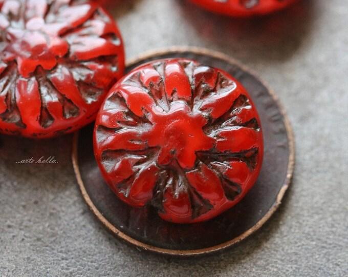DAHLIAS .. 6 Premium Picasso Czech Glass Dahlia Flower Beads 14mm (5159-6)