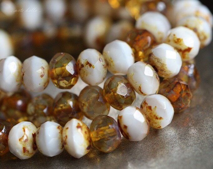 PHOEBE .. 10 Premium Picasso Czech Glass Rondelle Beads 5x7mm (B04-10)